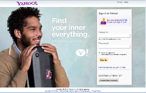 Yahoo sign-in page June 26, 2010